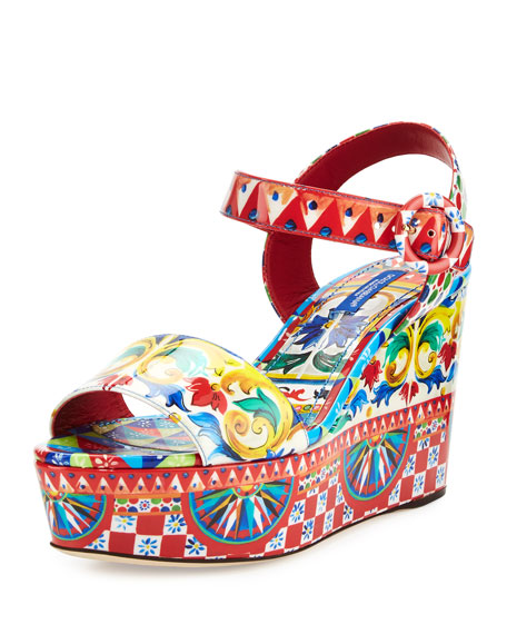 Carretto-Print Wedge Sandal, Multi