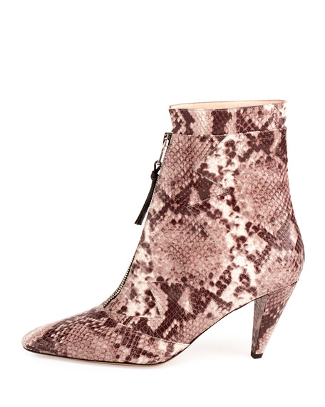 Fontana Snake-Print Zip-Front Ankle Boot, Natural