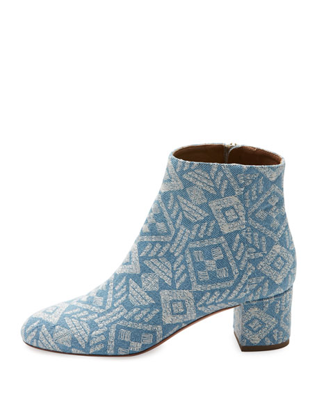Brooklyn Embroidered Denim Block-Heel Bootie, Light Blue