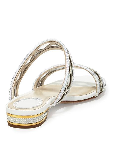 Crystal-Embellished Two-Band Flat Sandal Slide, White