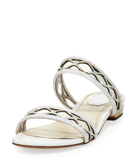 Rene Caovilla Crystal-Embellished Two-Band Flat Sandal Slide,