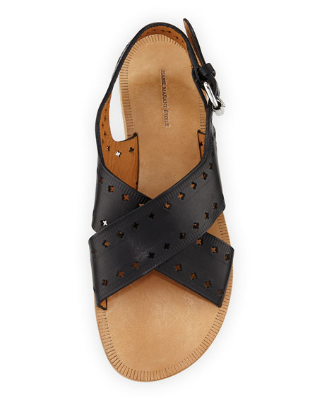 Jerys Perforated Flat Leather Sandal