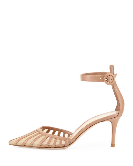 Striped Mesh & Leather d'Orsay Pump