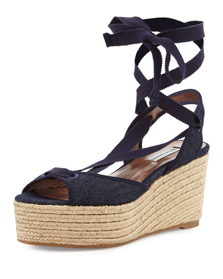 Logan Ankle-Wrap Espadrille Sandal, Denim