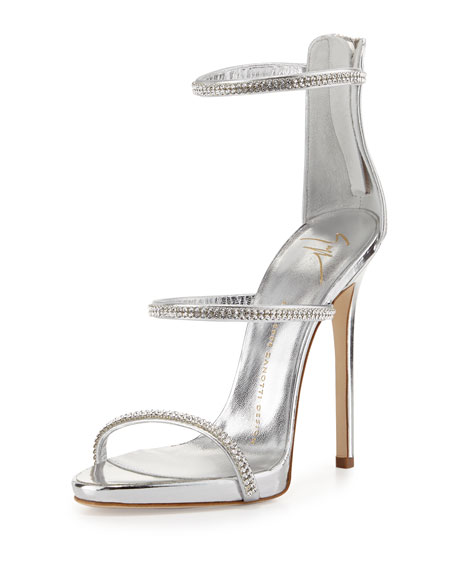 Jeweled Three-Strap 110mm Sandal, Silver