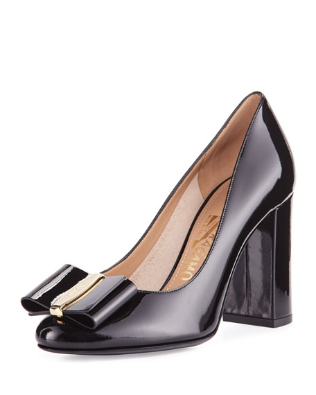 Patent Bow 85mm Pump, Black (Nero)