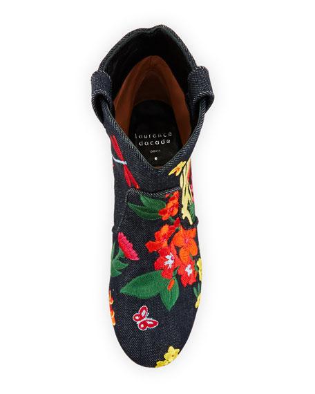 Belen Floral-Embroidered Denim Bootie, Dark Blue