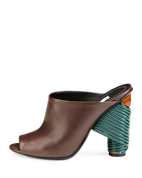 Leather Wrap-Heel Mule Pump, Marron Cachou