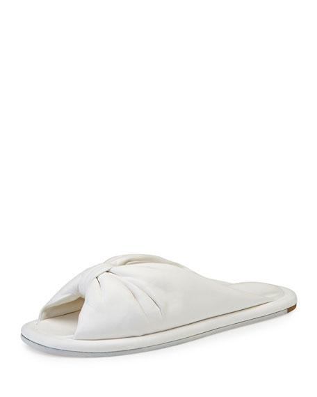Balenciaga Bow Leather Slide Sandal, Ivoire
