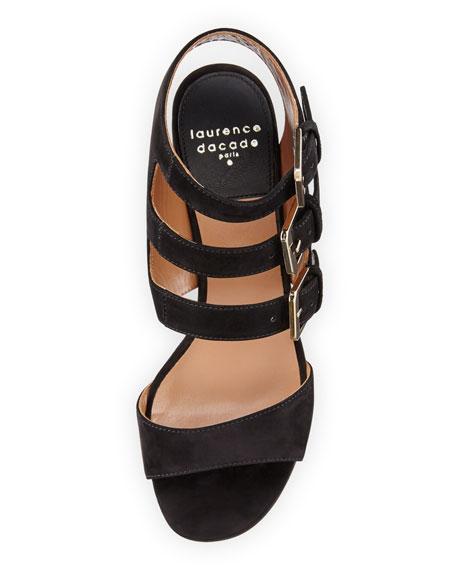 Klio Nubuck Three-Buckle Sandals
