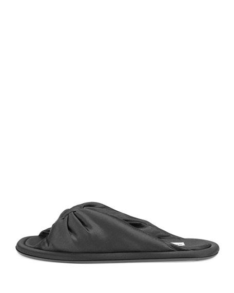 Knotted Silk Slipper Sandal, Black (Noir)