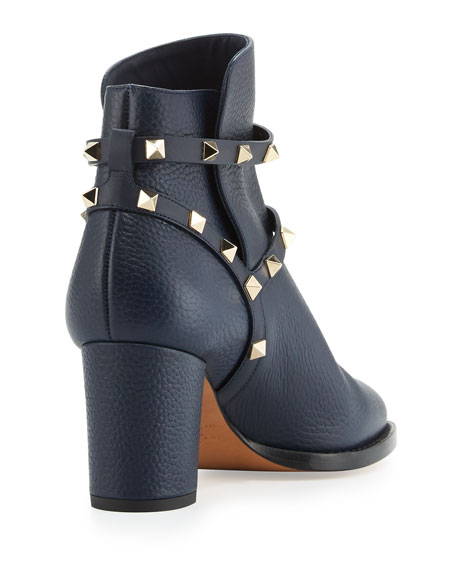 3664cb090d121 Valentino Garavani Rockstud Leather 70mm Ankle Bootie