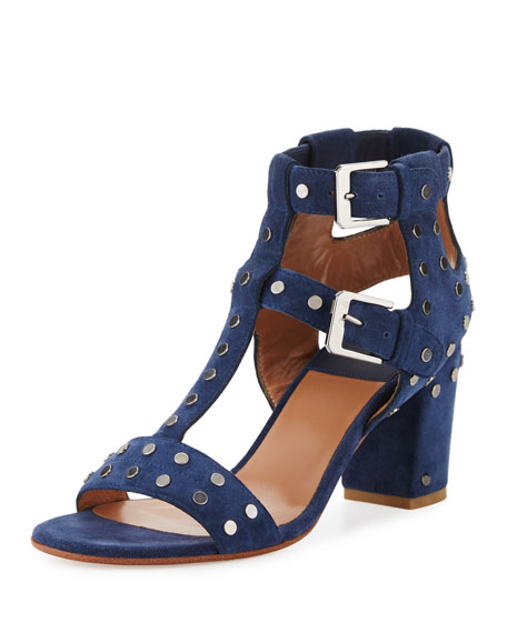 Helie Studded Suede Sandal, Blue