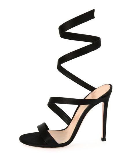 Snake Ankle-Wrap 105mm Sandal, Black