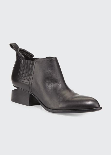 Kori Leather Tilt-Heel Boots, Black