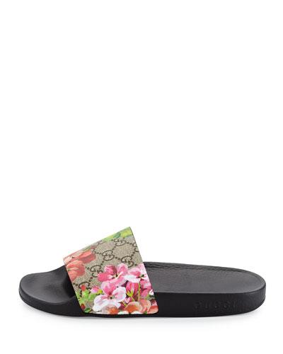 GG Blooms Supreme Slide Sandals, Ebony/Multi