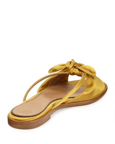 April Satin Bow Flat Slide Sandal