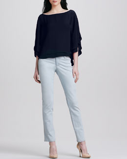 Alice + Olivia Hampton Layered Loose Blouse & Five-Pocket Skinny Jeans