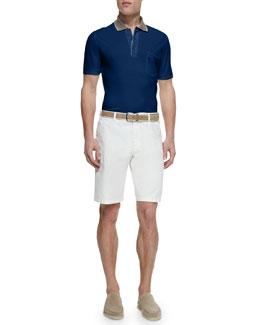 Regatta Contrast-Collar Pique Polo & Flat-Front Bermuda Shorts