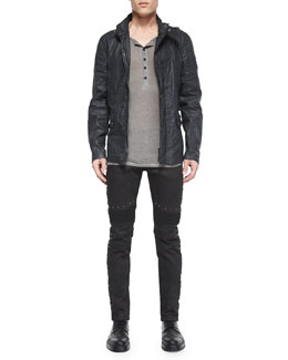 Gladstone Coated Zip-Up Jacket, Chirton Long-Sleeve Henley Shirt & Eastham Studded Slim Stretch Jeans