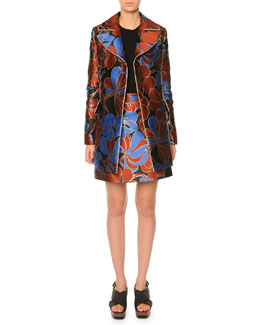 Pimpernel Blossom Print Double-Breasted Coat & Pimpernel Blossom Print Satin Mini Skirt