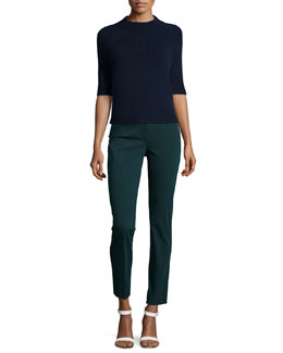 Jodi B Half-Sleeve Cashmere Sweater & Treeca Cl. Twill Cropped Pants