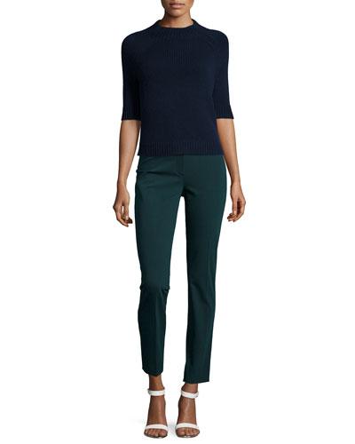 Jodi B Half-Sleeve Cashmere Sweater & Treeca Cl. Twill Cropped Pants
