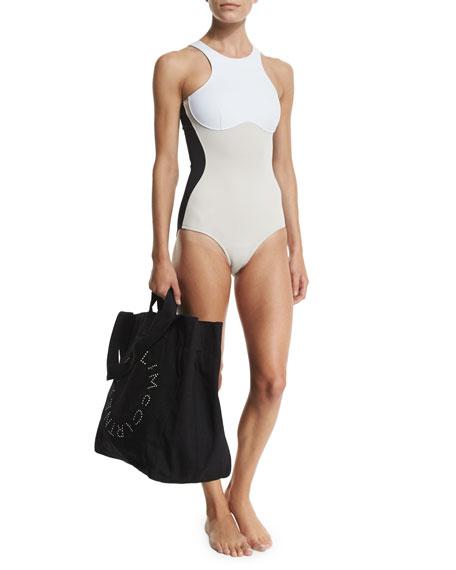 Stella Iconic Colorblock One-Piece Swimsuit, Black/Stone/White