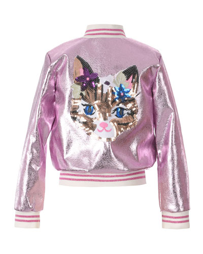 Girl's Metallic Bomber Jacket w/ Sequin Cat Face  Size 2-6  and Matching Items