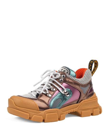 FlashTrek Metallic Leather Sneakers, Baby/Toddler
