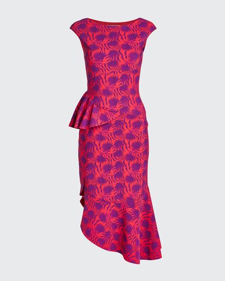 Printed High-Neck Sleeveless Asymmetric Flounce Dress