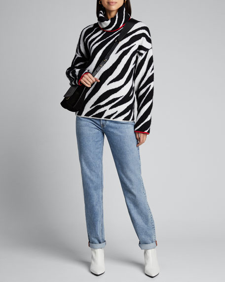 Kiki Funnel-Neck Zebra Sweater
