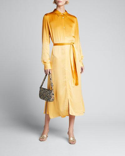 Deep-Dyed Satin Belted Shirtdress
