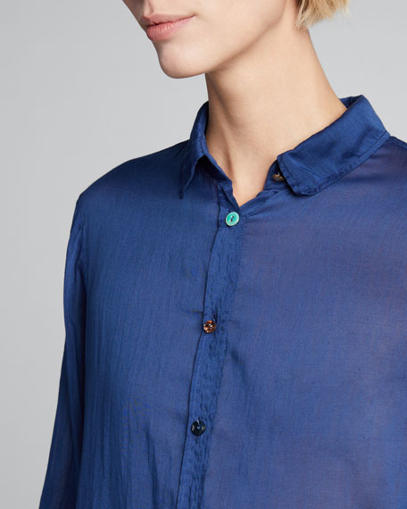 Cotton-Silk Voile Shirt with Jewel Buttons