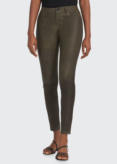 Leather Super Skinny Pants, Noir