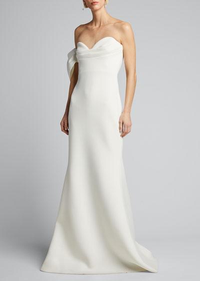 Asymmetric Bow Strapless Scuba Gown