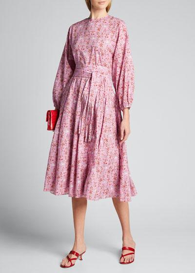 Devi Long-Sleeve Cotton Tie-Waist Dress