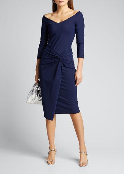 V-Neck Twist-Front Sheath Dress