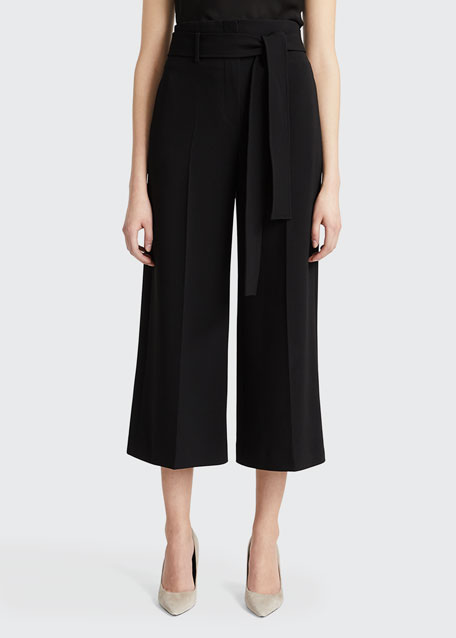 Image 1 of 1: Belted Crepe Cropped Pants
