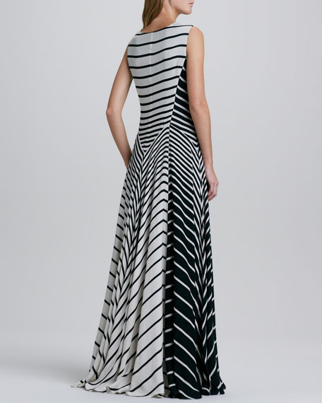 Striped A-Line Gown