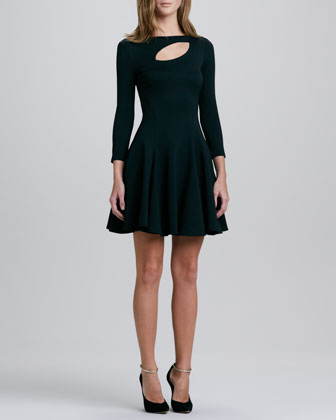 Ponte Knit Cutout Dress, Black