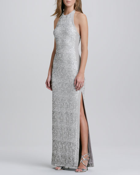 Sequined Halter Jersey Gown