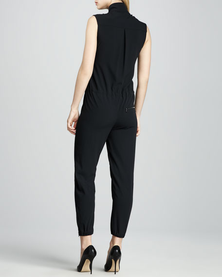 Front-Zip Jersey Jumpsuit