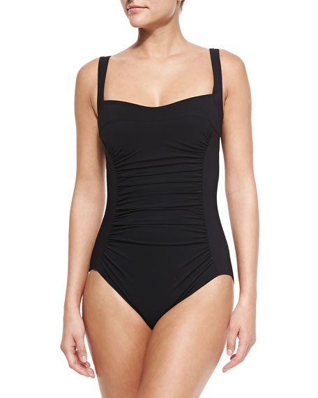 Square-Neck Underwire Swimsuit with Ruched Center
