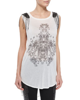 Rose-Print Beaded Slub Tank