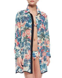 Caiman Floral-Print Coverup Blouse