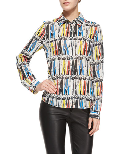 Willa Printed Button-Down Blouse