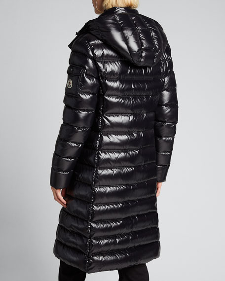 Moka Shiny Fitted Puffer Coat with Hood