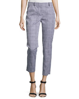 Treeca Check Straight-Leg Pants, Black/White