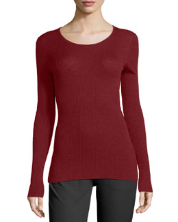 Mirzi Long-Sleeve Ribbed Sweater, Cherrywood
